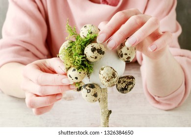 Florist at work: How to make beautiful Easter decoration in tree shape with moss and quail eggs. Step by step, tutorial.