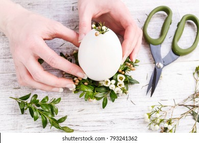 Florist at work: How to make easter wreath for egg with buxus and chamelaucium (wax flower). Step by step, tutorial.