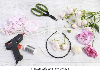 Florist at work: How to make flower crown with roses, eustoma (lisianthus), hortensia (hydrangea) and gypsophila paniculata. Wedding decoration ideas. Step by step, tutorial.