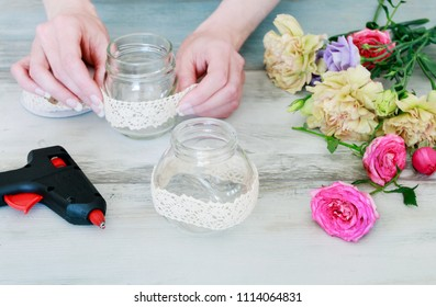 Florist at work: How to make simple bouquet with rose, eustoma and lavender flowers. Decorating random mason jars with lace. Step by step, tutorial.