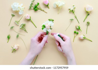 Florist at work: How to make wedding wreath (or flower crown) with roses, hortensias and viburnum. Step by step, tutorial.