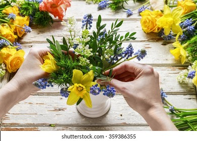 "Handmade Happy Birthday card 3D decoupage blue hydrangea flowers in vases 6/"""