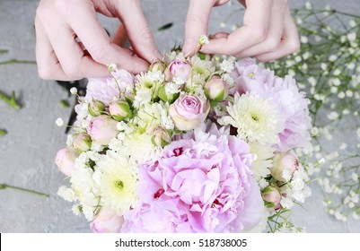 Florist workplace: how to make wedding floral arrangement with peonies, roses, chrysanthemums and gypsophila paniculata. Step by step, tutorial.
