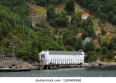 Florli, Norway - June 12, 2018: Old Florli Hydroelectric Power Station at Lysefjord, built in 1918. Two water penstocks with a cabled railway and a wooden stairway with 4444 steps.