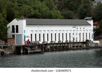 Florli, Norway - June 12, 2018: Old Florli Hydroelectric Power Station at Lysefjord, built in 1918. It has two water penstocks with a cabled railway and a wooden stairway with 4444 steps.