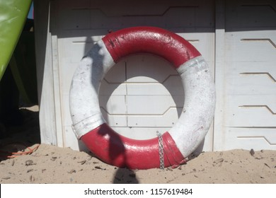 flotation ring near the lifeboat station on the beach