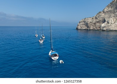 A flotilla of sailing yachts out of the bay.