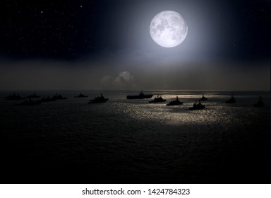 Flotilla of warships in the sea on the background of the full moon