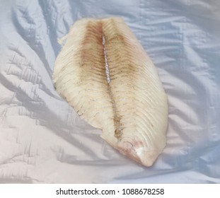 A flounder filet on wrapping paper