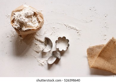Flour and cutting dough for make cookie.