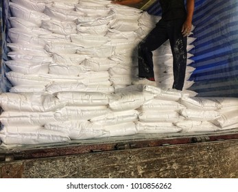 Flour ingredients bag in food production, business Transportation or manufacturing concept and food supply chain