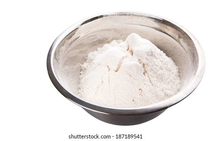 Flour in mixing steel mixing bowl.