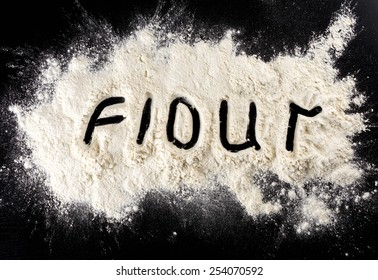 Flour on black background