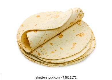 flour tortillas on white background