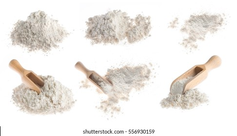 flour with wooden scoop isolated on white background