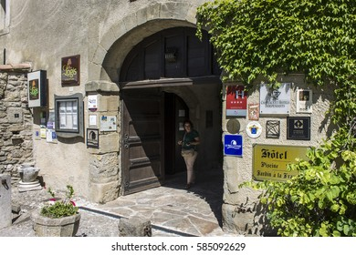 FLOURE, FRANCE - August 13, 2016: Entrance of the Logis Hotellerie du Chateau de Floure, a wonderful hotel Relais du Silence in Southern France, ancient home of Gaston Bonheur.