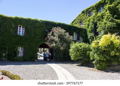 FLOURE, FRANCE - August 13, 2016: Inside the Logis Hotellerie du Chateau de Floure, a wonderful hotel Relais du Silence in Southern France, ancient home of Gaston Bonheur.