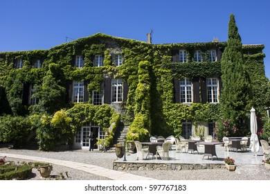 FLOURE, FRANCE - August 13, 2016: Inside the Logis Hotellerie du Chateau de Floure, a wonderful hotel Relais du Silence in Southern France, ancient home of Gaston Bonheur.
