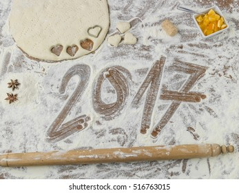 floured pastry board with 2017 written in it