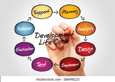 Flow chart of life cycle development process, business concept