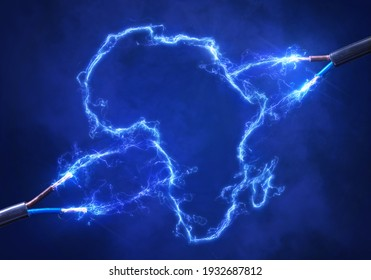 Flow of energy in the shape of Africa appears between a cut cable.(series)