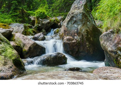 flow of picturesque mountain stream in the gorge