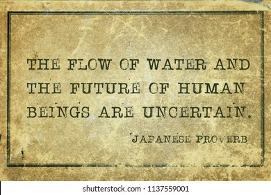 The flow of water and the future of human beings are uncertain - ancient Japanese proverb printed on grunge vintage cardboardfuture, human,