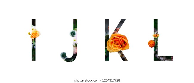 Flower Alphabet I, j, k, l,  made of Real alive flowers with Precious paper cut shape of letter. Spring time.
