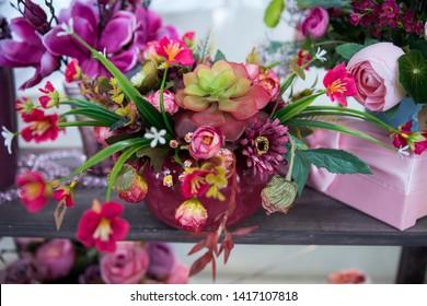Flower arrangement bouquet of gerbera, rose, hyacinth, chrysanthemum