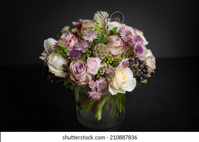Flower arrangement bouquet on black background