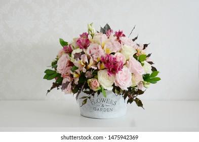 Flower arrangement with Brazilian fresh flowers. Goiania, Goias, Brazil