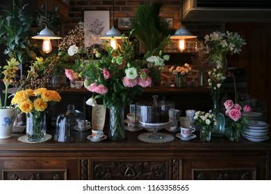Flower arrangement in a coffee shop