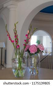 flower arrangement in the foyer of a luxury villa