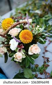 Flower arrangement on dining table