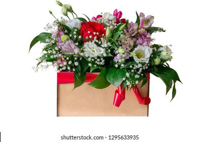 flower arrangement on a white background in a box