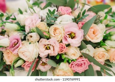 flower arrangement of pink flowers, macro