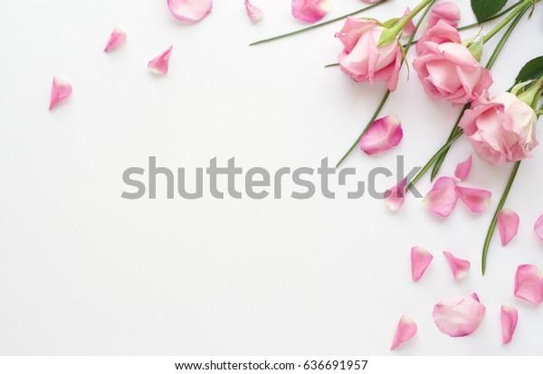 Blume Anordnung rosafarbener Rosen und Blüten auf weißem Hintergrund.Urlaubskonzept