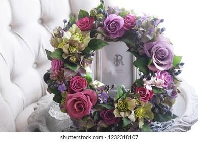 Flower arrangement  rose  wreath