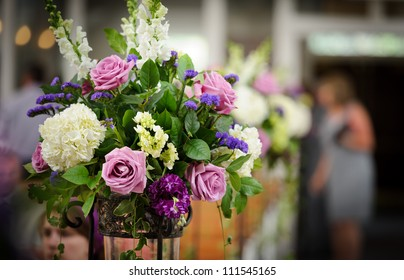 Flower arrangement at the wedding ceremony