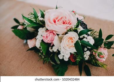 Flower arrangement at the wedding, event