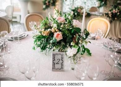 Flower arrangement wedding table