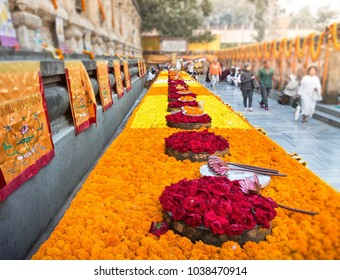 Flower Arrangement For Worshipfulness At Mahabodhi Temple,India