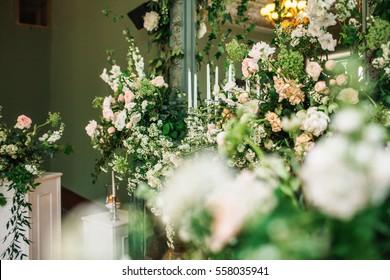 Flower arrangements at a wedding