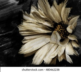 Flower Artwork Oil Paint Canvas - Dark Tones - Interior Decoration