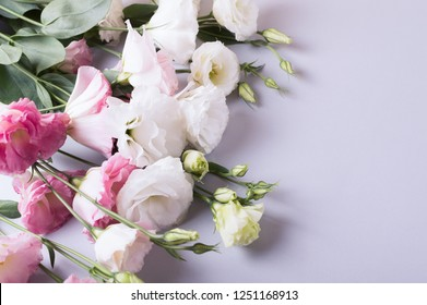 Flower background with copy space. Lisianthus, eustoma