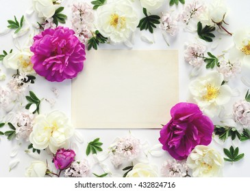 flower background, floral pattern, greeting card, composition flat Lay