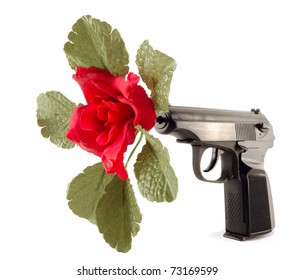 flower in the barrel of the gun isolated on white background