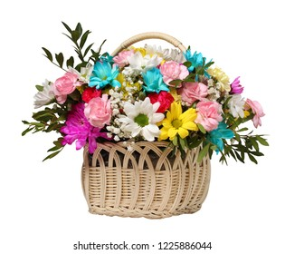Flower basket isolated on white background. Chrysanthemums and carnations as a gift.