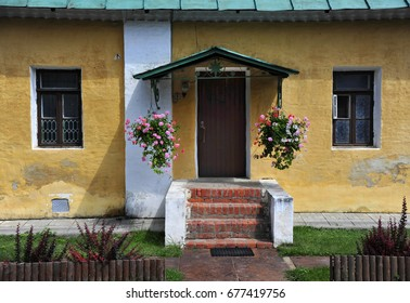 Flower Baskets Welcome Visitors to a Traditional Russia Cottage in Moscow, Russia