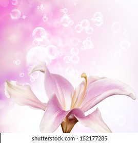Flower beautiful Lily witch soap bubbles